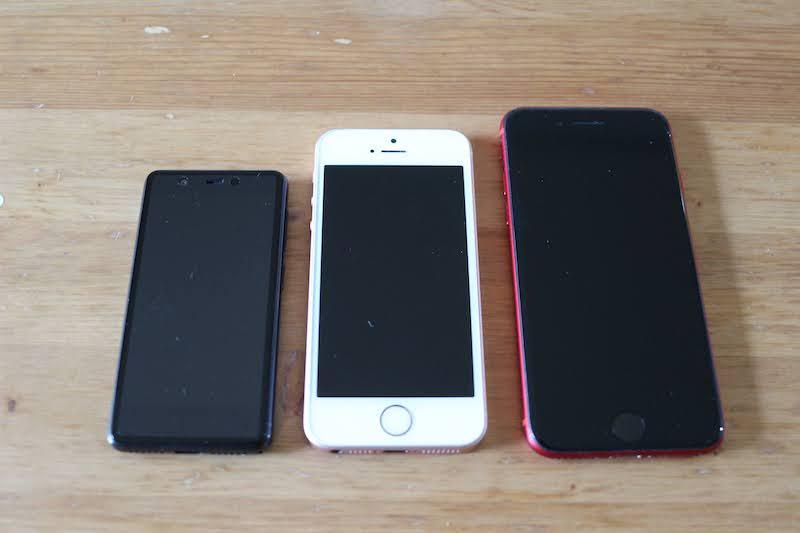 iPhoneSE・8・Rakuten Miniの比較